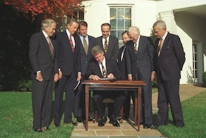 President Clinton signing The Religious Freedom Restoration Act